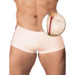 GBGB Santos Swim Boxer Swimwear White/Red Zipper (T2602)