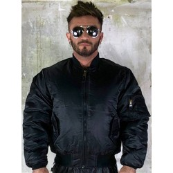 Boxer MA1 Style Bomber Jacket Black