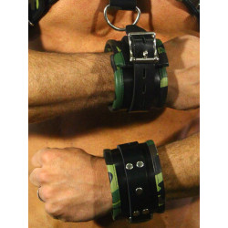 RudeRider Wrist Cuffs with Padding Leather Camo (Set of 2) One Size