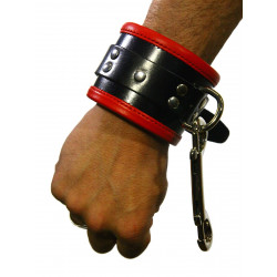 RudeRider Wrist Cuffs with Padding Leather Black/Red (Set of 2) One Size (T7331)