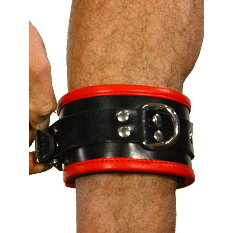 RudeRider Ankle Cuffs with Padding Leather Black/Red (Set of 2) One Size (T7335)