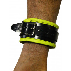 RudeRider Ankle Cuffs with Padding Leather Black/Yellow (Set of 2) One Size (T7337)
