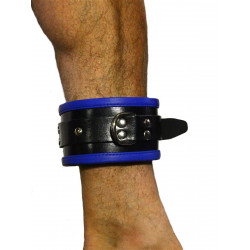 RudeRider Ankle Cuffs with Padding Leather Black/Blue (Set of 2) One Size (T7338)