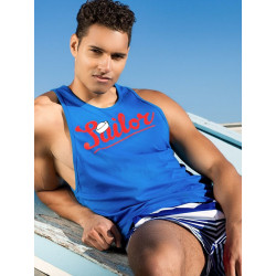 2Eros Anchor Singlet Tank Top Blue (T3996)