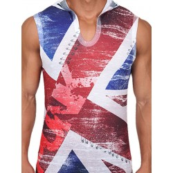 Pistol Pete UK Punk Sleeveless Hoody T-Shirt Multi (T4021)